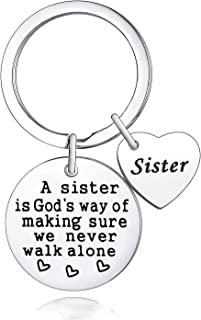 Sister Keychain Sister Gift A Sister Is God's Way Of Making Sure We Never Walk Alone Keyring Sister Gifts Friend Keyring