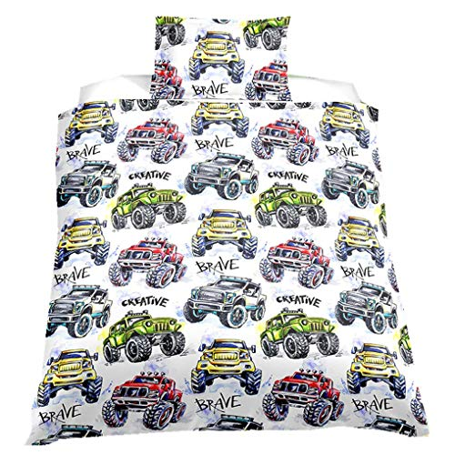 88888 Children's Bedding set Dinosaur 3D Cartoon Animal Butterfly Owl Shark Duvet Cover Basketball Football Car Racing-Car Off-Road Tractor Multicolor Child Cot Bed (Tractor, Single 135x200 cm)