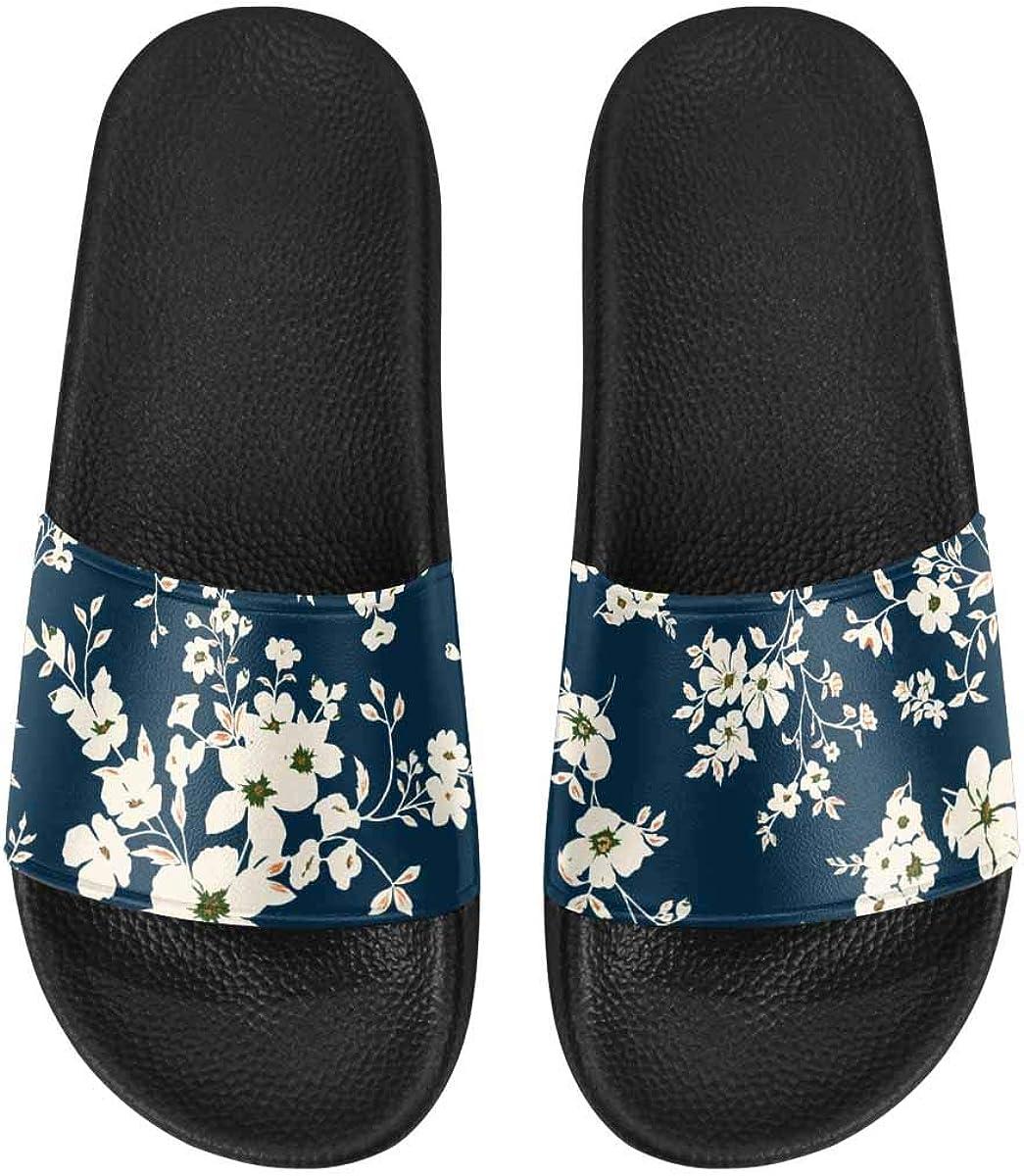 InterestPrint Women's Casual Slide Sandals for Indoor Outdoor Floral Leaves Autumn