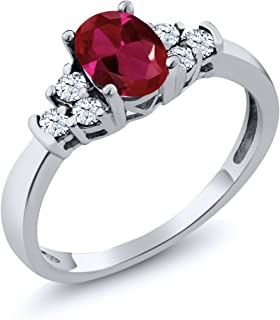 925 Sterling Silver Red Created Ruby and White Topaz Women's Ring 0.92 Ctw Oval (Available 5,6,7,8,9)