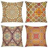Kissenbezüge, 4 Kissenbezüge, arabisch, asiatisch, Batik, Retro-Blumen-Mandala-Überwurf,...