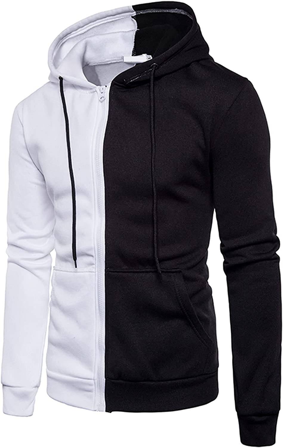XXBR Fall Hoodies for Mens, Zipper Drawstring Hooded Sweatshirts Color Block Patchwork Workout Casual Pullover Jackets