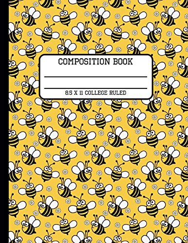Composition Book College Ruled: Cute Bumblebee Insect Back to School Writing Notebook for Students and Teachers in 8.5 x 11 Inches