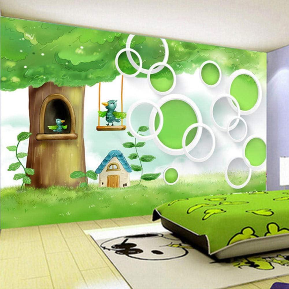 Custom Kids Wall Large special price !! Photo Wallpaper 3D In a popularity Mur Birds Cartoon Tree Green