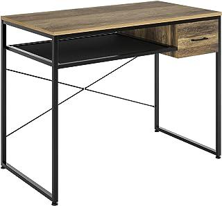 HOMECHO Table d'Etude, avec 1 Tiroirs, Table Bureau, Style Industriel, pour Bureau Salon, Table d'Ordinateur, Marron et No...