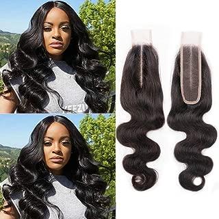 Brazilian 2x6 Deep Part Swiss Lace Closure Kim K Closure Body Wave High Ratio Hair Closure Human Hair Middle Part Natural Color(16 inch)