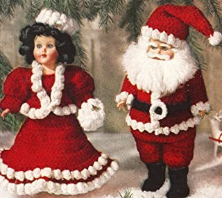 Vintage Crochet PATTERN to make - Mr. Mrs. Santa Doll Clothes 11-in Xmas. NOT a finished item, this is a pattern and/or instructions to make the item only.