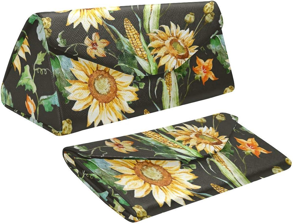 Glasses Case Beautiful Nice Sunflowers Eyeglass Case Leather Magnetic Folding Hard Case Sunglasses Eyewear Protective Case