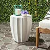 Safavieh Outdoor Collection Jaslyn Modern Concrete Ivory Round 17.7-inch Accent Table