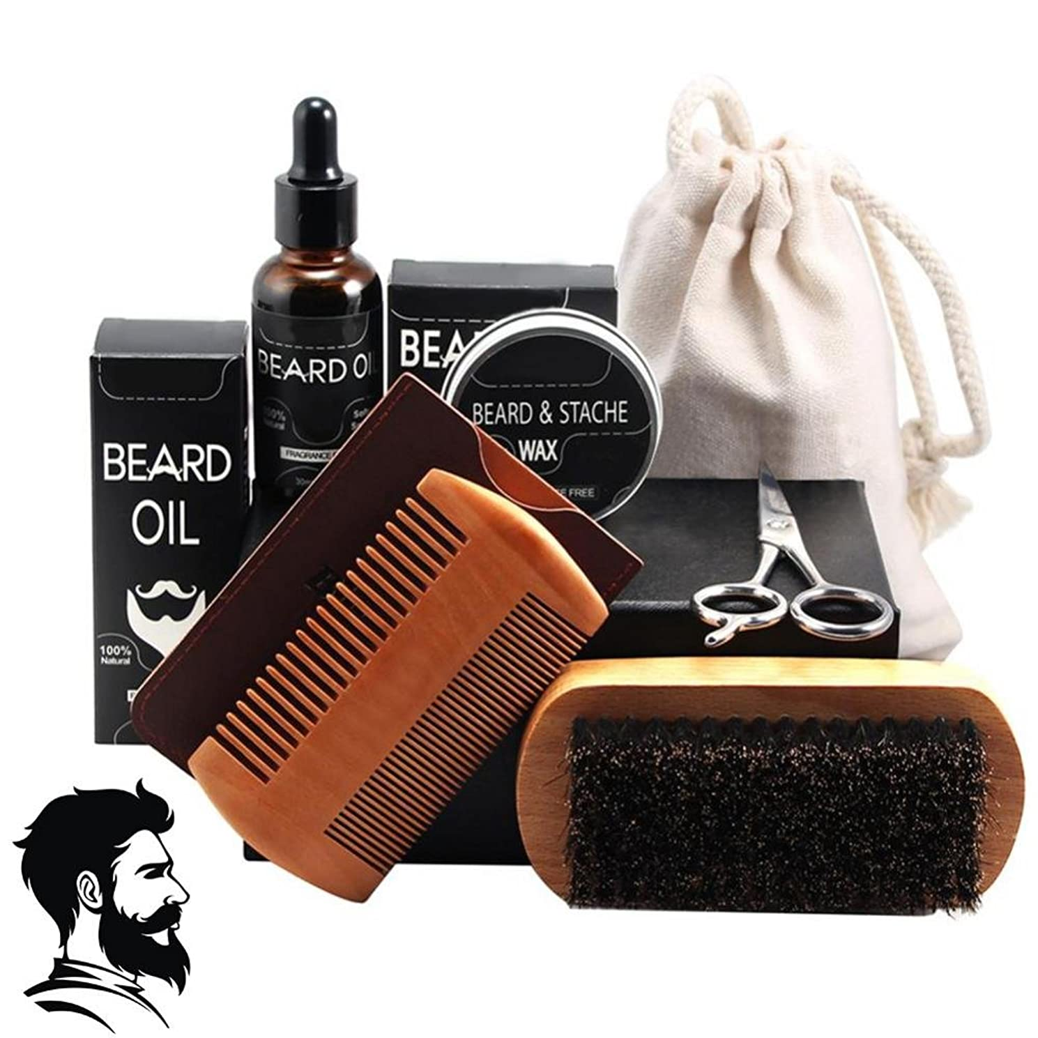 一人で移住する想像するあごひげ油、男性の口ひげフルセットヘアケアツール(ひげワックスくし付き)(7PCSのパック)用シェービングブラシプロフェッショナルフェイシャルトリミングハサミ