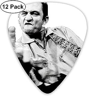 Davida Johnny Cash Celluloid Guitar Picks Plectrums (12 Pack) for Electric Guitar, Acoustic Guitar, Mandolin, and Guitar Bass