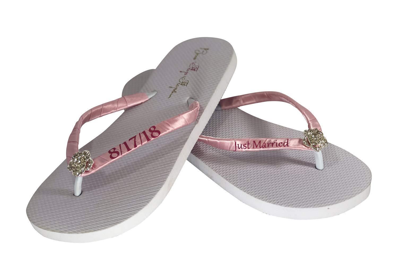 Just Sale special price Married Wedding Flip Flops -Flat Heel or W - Wedge Ivory Under blast sales