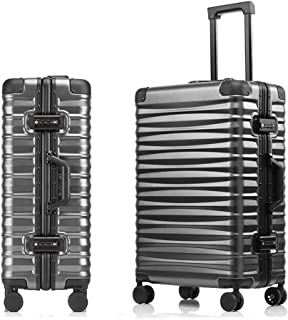 SMLCTY Aluminum Frame Trolley Case,ABS+PC,360° Universal Wheel Large Capacity Boarding,Hard Shell Travel Hold Check In Luggage Suitcase 4 Wheels (Color : Gray, Size : 29 inch)
