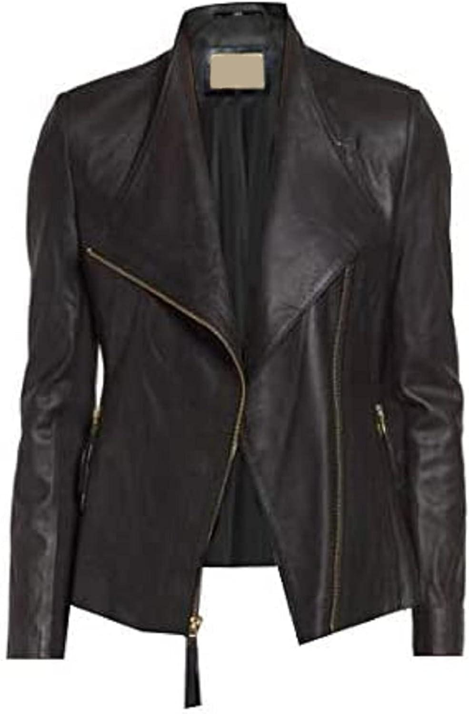T&I TEXAS Bollywood Style Black Jacket For Womens | Women Biker Black Faux Leather Jacket