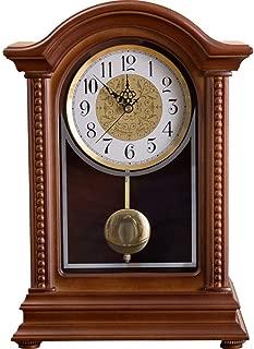 Qddan Mantel Clock Solid Wood Desk-Clock Antique Mantle Pendulum Clocks Table Home Room Decorativen Mute Digital Nordic Gift, Battery Powered (Color : Time Report)