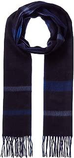 Qi Mens 3 Color Plaid Cashmere Scarf, Blue