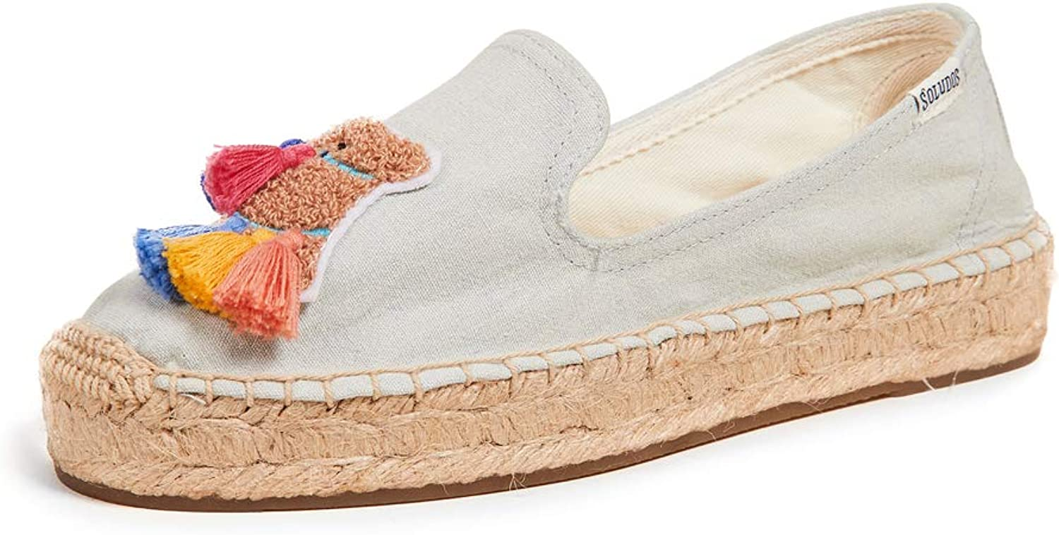 Soludos Womens Tassel Camel Smoking Slipper