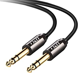 J&D Cable de 6,35 mm a 6,35 mm, Chapado en Oro [Cáscara de Cobre] [Heavy Duty] 6,35mm 1/4'' Macho TRS a 6,35 mm 1/4'' Macho TRS Estéreo Adaptador de Audio Cable - 2.7 Meter