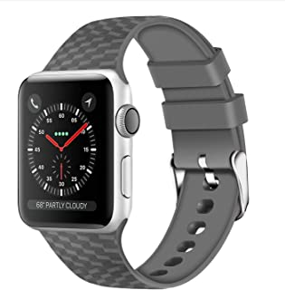 WISHTA Compatible with Apple Watch Band 38mm 42mm Series 3/2/1 40mm 44mm Series 4, Rubber Sport Wristbands for iwatch Women Men