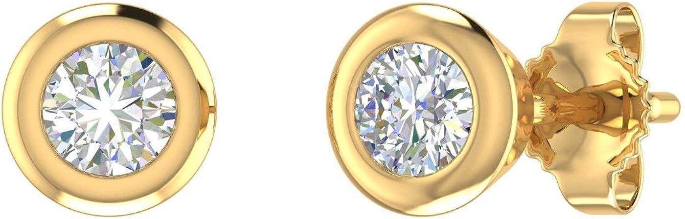14K Gold Bezel Set Ladies Diamond Stud Earrings (1/4 Carat)