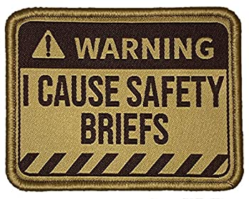Warning - I Cause Safety Briefs - Embroidered Morale Patch  Multicam