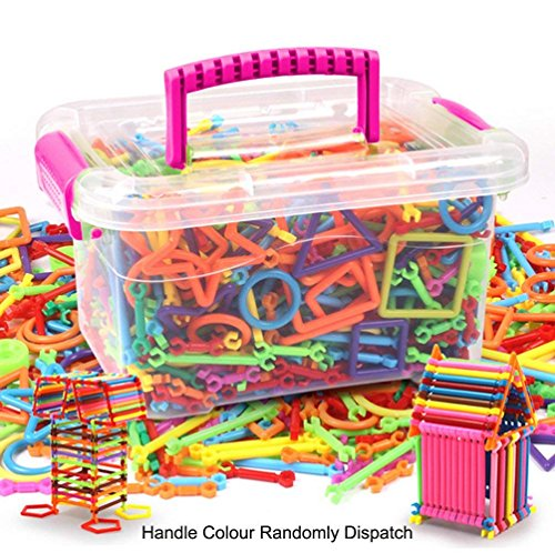 JINTN Kinder 300pcs BAU Bausteine DIY Pädagogisches Spielzeug Magic Sticks Lernspielzeug Steckspiel Steckbausteine 3D Intelligenz Stapeln Spielzeug mit Handcarry Box Weihnachten Geburtstagsgeschenk