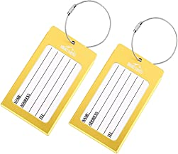 Luggage Tags 2 Pcs Set Business Card Holder Mont Swiss Travel ID Tag(Gold)