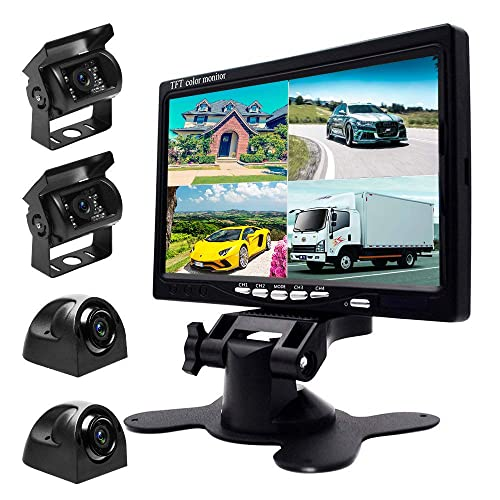 Podofo 9V-24V Car Backup Camera Kit, 7 Inch HD Quad Split Monitor +