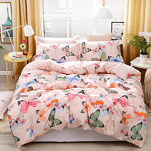 Nordic Modern Style Home Textiles Bedding Set Small Fresh Series Butterfly Print Light Pink Duvet Cover Queen King Size Linen Comforter Set Double Single The Comfy for Girl Adult,Queen
