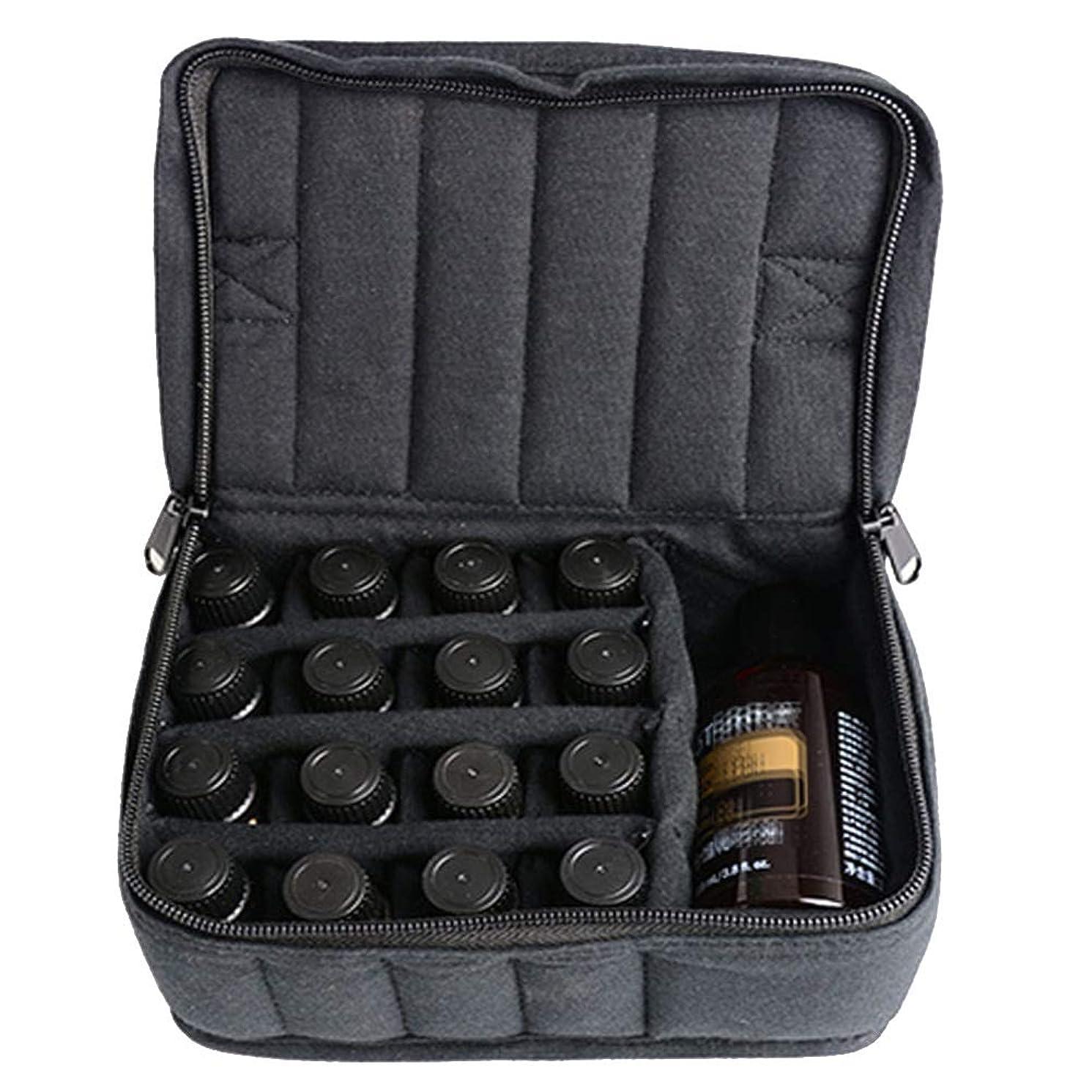 アカデミック不愉快基礎理論ソフト17本のボトル-Essentialオイルキャリングケースは、旅行のための17本のボトル5ミリリットル/ 10ミリリットル/ 15ミリリットルを開催します 香水フレグランス (色 : ブラック, サイズ : 17X14X7.5CM)