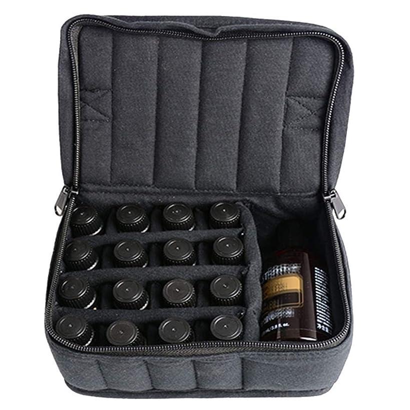 胚保持打ち負かすAXROAD MALL ソフト持ち運びに便利な17本のボトル-Essentialオイルキャリングケースは、旅行のための17本のボトル5ミリリットル/ 10ミリリットル/ 15ミリリットルを開催します (色 : ブラック, サイズ : 17X14X7.5CM)