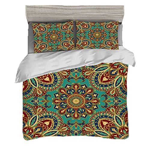 Funda nórdica Tamaño doble (150 x 200 cm) con 2 fundas de almohada Mandala Juegos de cama de microfibra Patrón con estilo mandala Medievales orientales árabes orientales Oriental étnico,multicolor,Eas