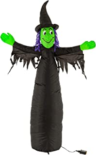 Halloween Haunters 5 Foot Inflatable Scary Black and Green Witch with LED Lights Indoor Outdoor Yard Lawn Prop Decoration - Wicked Blow Up Haunted House Party Display