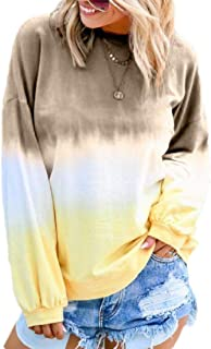 Zantt Women's Long-Sleeve Casual Shirt Colorblock Loose Fit Crew Neck Top Blouse