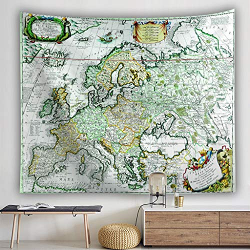 Scrolor Tapisserie Gobelin Tapesrty für Schulbibliothek Wandbehang Dekoration für Studio Office World Map Multi Color(Mehrfarbig 3,100x150cm)