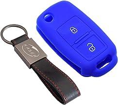 Funda Silicona para Llave VW Volkswagen – Carcasa Llaveros para Coche VW Volkswagen Seat Skoda Golf Polo Passat Scirocco Tiguan Ibiza Octavia Cover Case Protección Mando Distancia Auto (Azul)