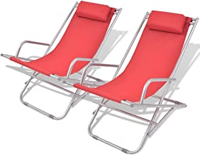 vidaXL 2x Reclining Deck Chairs Steel Outdoor Garden Patio Folding Beach Bed Swing Chair Furniture Red
