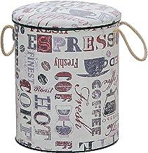 スイデコ 収納缶スツール Lサイズ カフェ柄