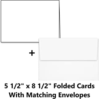 """Hamilco Card Stock Folded Blank Cards with Envelopes 5 1/2 x 8 1/2"""" - Scored White Cardstock Paper 80lb Cover - 100 Pack"""