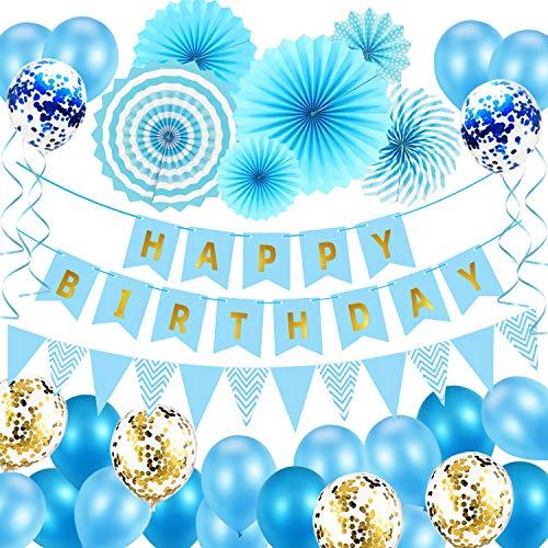 Decoración de cumpleaños para niños, globos de decoración para fiestas de cumpleaños infantiles, juego de decoración para fiestas de cumpleaños con pancarta Happy Birthday Globos, abanicos de papel