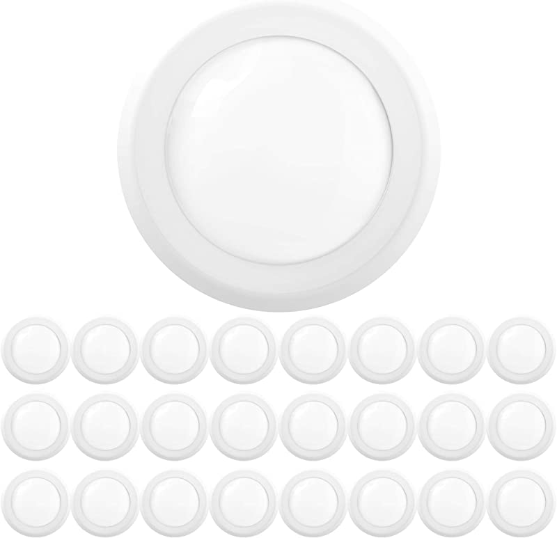 Sunco Lighting 24 Pack 5 Inch 6 Inch Flush Mount Disk LED Downlight 15W 100W 6000K Daylight Deluxe 1050LM Dimmable Hardwire 4 6 Junction Box Recessed Retrofit Ceiling Fixture