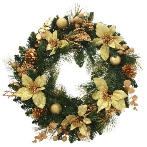 WeRChristmas Couronne de Noël décorée Imitation épicéa avec 20 LED Blanc Chaud Écru/doré 60 cm