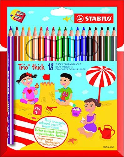 STABILO Trio Maxi matita colorata colori assortiti con Temperino - Astuccio da 18