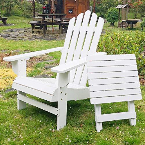 SFYLODS White Outdoor Painted Wood Fashion Adirondack Chair/Muskoka Chairs Patio Deck Garden Furniture