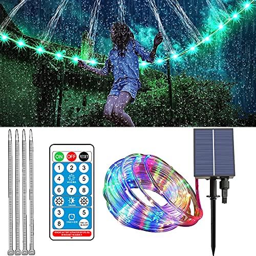APCHY - Luci per trampolino a LED, impermeabili, con telecomando a energia solare, 8 modalità di illuminazione, cambia colore, per decorazione di bordo trampolino, Natale, giardino, 200 LED, 20 m