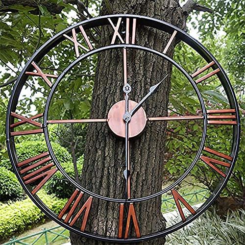 CHENGL Reloj de Pared para Jardín,(60cm) Reloj Industrial Europeo Vintage con Números Romanos,Interior Silencioso,Funciona con Pilas,para Decoración del Hogar,para Sala de Estar,Dormitorio