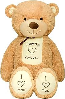 TEDBI Oso de Peluche Gigante 160cm | Beige | Gran Oso de Peluche de Juguete de Regalo de cumpleaños del corazón XXL Teddy Bear con Bordado Te Amo para Siempre
