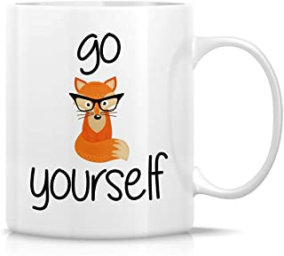 Retreez Funny Mug - Go Fox Yourself 11 Oz Ceramic graba gift, Sarcasm, Sarcastic, Motivational, Inspirational birthday gifts for friends, coworkers, siblings, dad