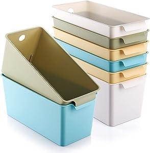 Kingrol 8 Pack Plastic Storage Baskets, Stackable Food Storage Organizer Bins for Home, Office, Nursery, Laundry Shelves Organizer, 10.75 x 5.25 x 5 Inch