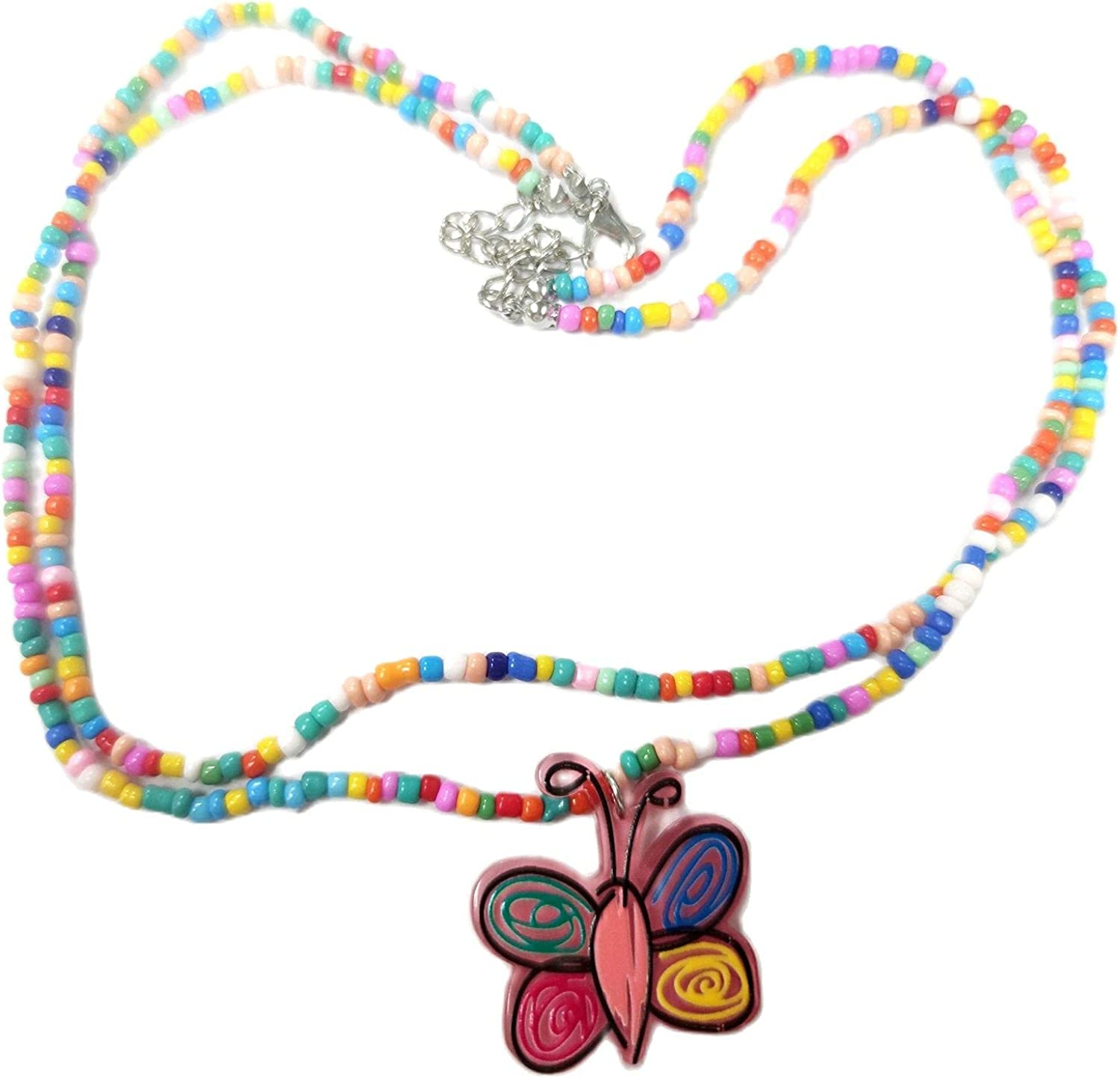 Lovely Y2K Colorful Beaded Choker Cute Flower Butterfly Resin Pendant Necklace Summer Rainbow Sunflower Daisy Collar Necklace for Women Girls